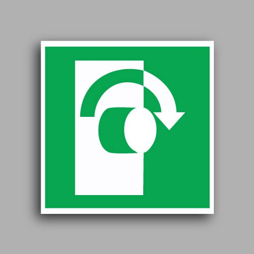 E019 etichetta adesiva con simbolo girare la maniglia in senso orario