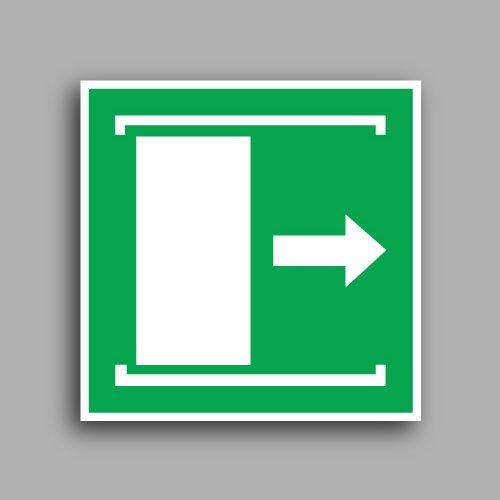 E033 etichetta con simbolo porta con apertura scorrevole verso destra