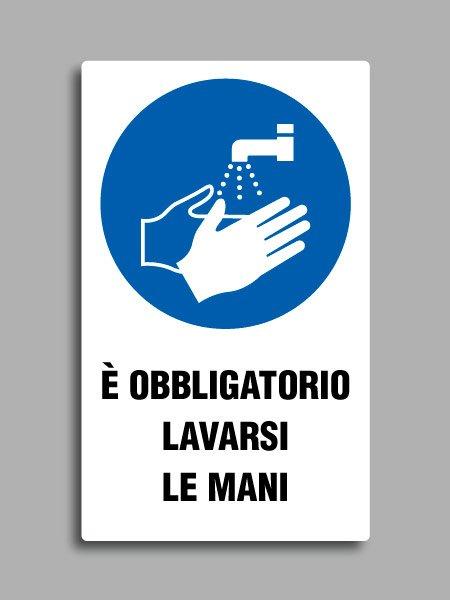 """Cartello con simbolo ISO 7010 M011 e testo """"è obbligatorio lavarsi le mani"""""""
