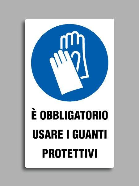 """Cartello con simbolo ISO 7010 M009 e testo """"è obbligatorio usare i guanti protettivi"""""""