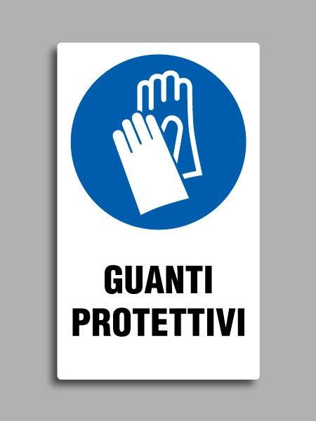 """Cartello con simbolo ISO 7010 M009 e testo """"guanti protettivi"""""""