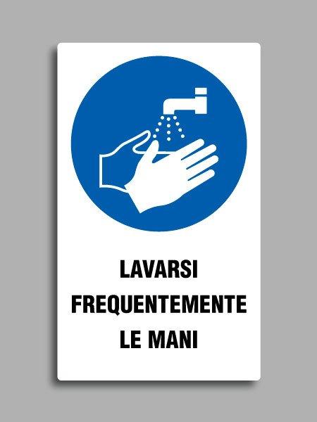 """Cartello con simbolo ISO 7010 M011 e testo """"lavarsi frequentemente le mani"""""""