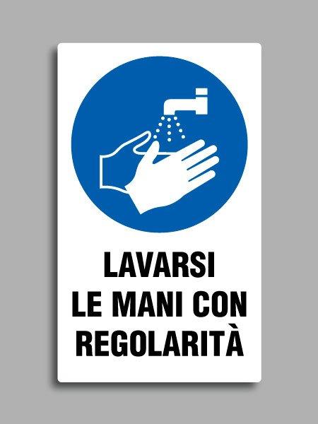 """Cartello con simbolo ISO 7010 M011 e testo """"lavarsi le mani con regolarità"""""""