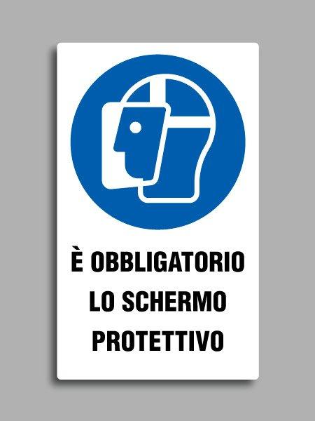 """Cartello con simbolo ISO 7010 M009 e testo """"è obbligatorio lo schermo protettivo"""""""