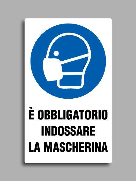 """Cartello con simbolo ISO 7010 M016 e testo """"è obbligatorio indossare la mascherina"""""""