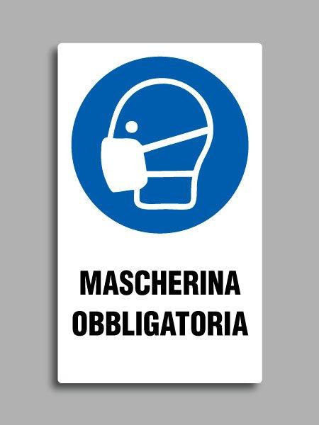 """Cartello con simbolo ISO 7010 M016 e testo """"mascherina obbligatoria"""""""