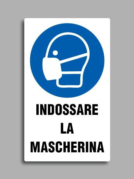 """Cartello con simbolo ISO 7010 M016 e testo """"indossare la mascherina"""""""