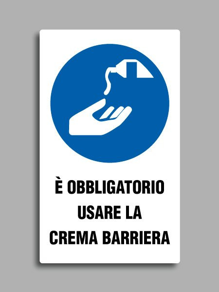 """Cartello con simbolo ISO 7010 M022 e testo """"è obbligatorio usare la crema barriera"""""""